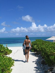 Grace Bay beach steps from your condo at the Seagate